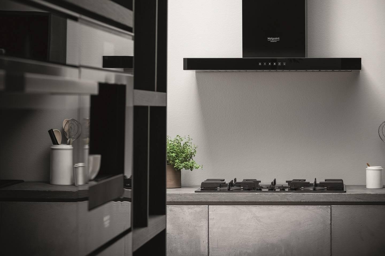 Campanas integradas en la cocina  aluminio plateado y blanco - Hotpoint 9ec9e8336bd