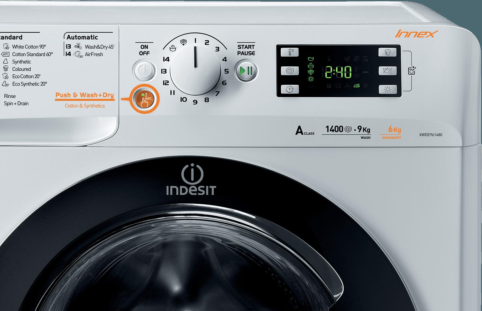 Freistehender waschtrockner waschfertig in 45 minuten innex
