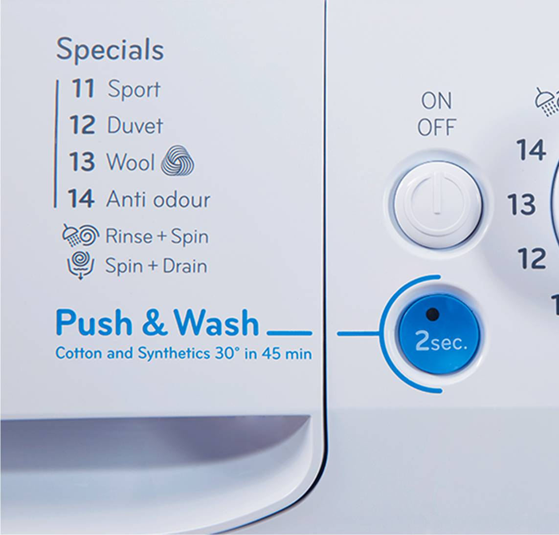 Freestanding front loading washing machine innex indesit one push of a button thats all it takes to turn your innex washing machine on set the programme and start the wash cycle in 45 minutes youll have buycottarizona Choice Image