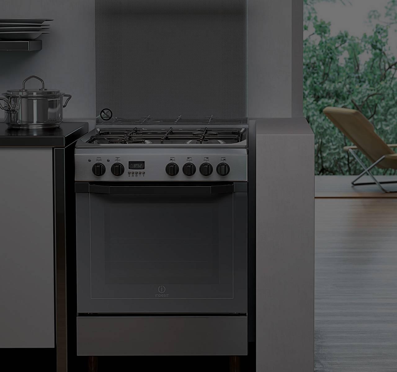 Cucina A Gas Con Forno Elettrico Ventilato Ariston. Cool ...
