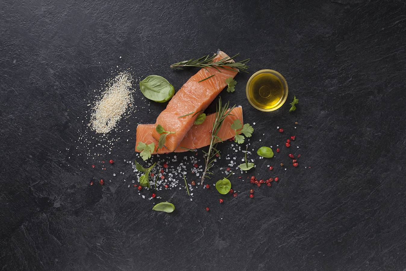Ingredients - Grilled salmon with herby breadcrumbs