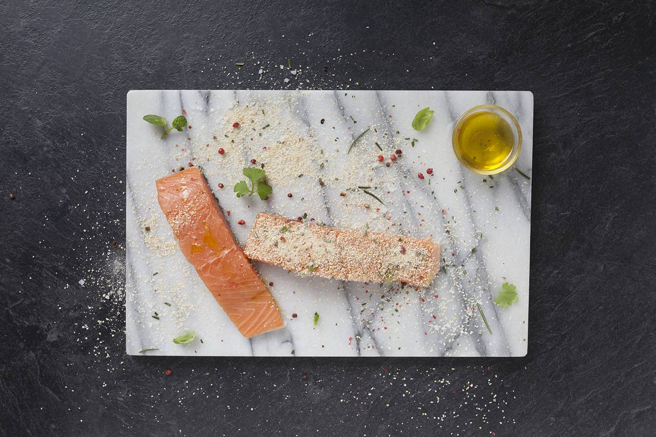 Preparation - Grilled salmon with herby breadcrumbs